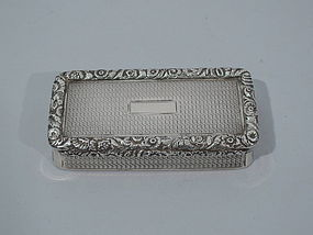 Antique Regency English Sterling Silver Snuff Box 1827
