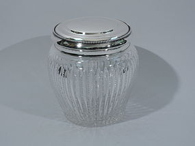Antique Cut Glass and Sterling Silver Candy Jar