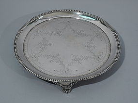 Antique European Neoclassical Silver Salver Tray C 1840