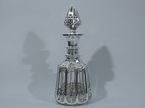 Modern Gothic Glass Decanter with Silver Overlay C 1880