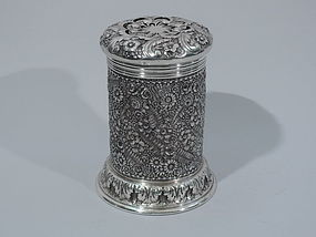 Unusual Tiffany Sterling Silver Shaker with Floral Repousse C 1887