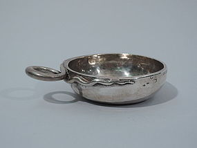 Antique French Silver Wine Taster with Snake Ring Handle 18th C