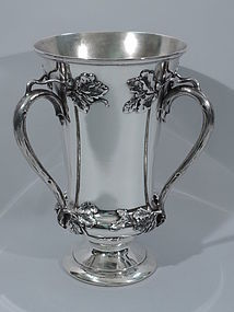 Antique Sterling Silver Trophy Cup with Acorns and Oak Leaves C 1880
