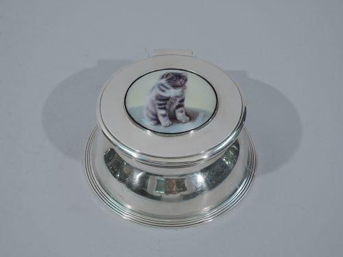 Edwardian Sterling Silver & Enamel Inkwell with Sweet Kitty Cat 1906