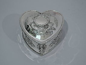 Antique Sterling Silver Heart-Shaped Jewelry Box