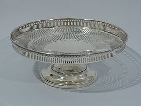 Antique American Sterling Silver Pierced Compote