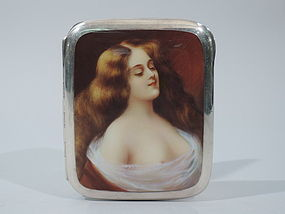 European Silver & Enamel Cigarette Case with Alluring Lorelei C 1910