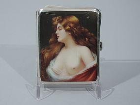 European Silver & Enamel Cigarette Case with Alluring Lorelei C 1905