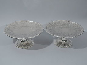 Pair of Tiffany Sterling Silver Scallop Shell Compotes C 1915