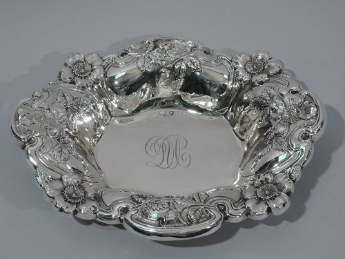 American Sterling Silver Bowl with Flowers C 1900