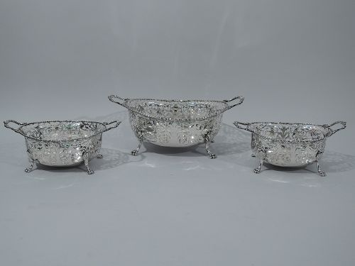 English Sterling Silver Centerpiece  - Garniture with 3 Baskets 1919