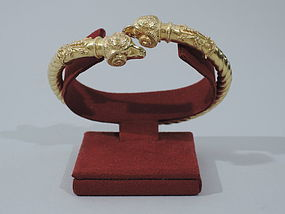18K Gold Italian Ram's Head Bangle Bracelet - Etruscan Revival C 1890