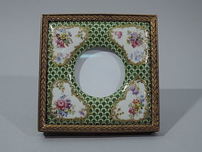 Antique European Porcelain and Dore Bronze Picture Frame