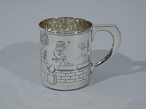 Tiffany Sterling Silver Pictorial Baby Cup C 1910