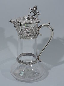 Victorian English Sterling Silver and Crystal Decanter 1877