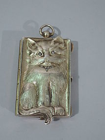 Mini Silver Gilt Cat Compact - Kitty Sitting Pretty