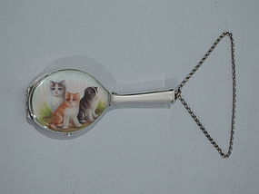 Cute Kitties - Antique Silver and Enamel Cat Compact with Wrist Chain