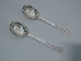 Pair of Fancy Edwardian Berry Spoons - English Sterling Silver 1906