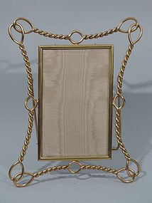 Antique English Brass Picture Frame - Rope Motif