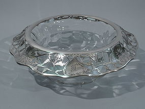 Large Art Nouveau Centerpiece Glass Bowl with Floral Silver Overlay