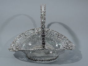 Art Nouveau Sterling Silver Rose Basket by JE Caldwell C 1900