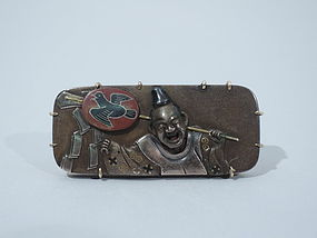Shakudo Laughing Man Brooch - Japanese C 1880