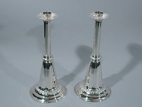 Dramatic Midcentury Modern Sterling Silver Candlesticks 1950