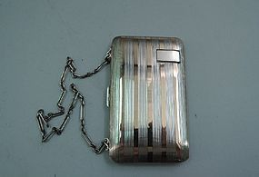 Art Deco Sterling Silver and Rose Gold Purse Wallet with Wrist Chain