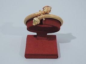 Antique Italian Etruscan Revival 22K Gold Cuff Bracelet C 1880