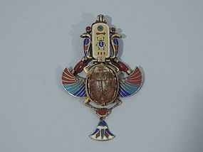 Egyptian Revival 14K Gold and Enamel Scarab Pendant C 1880