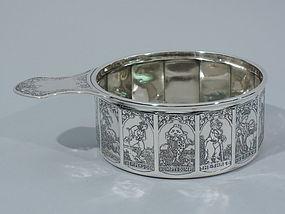 Antique American Sterling Silver Nursery Rhyme Porringer by Kerr