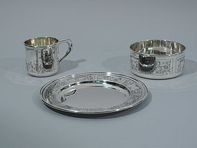 Great Baby Gift - Antique Sterling Silver 3-Piece Set by McChesney