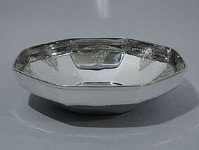 Art Deco Sterling Silver Octagonal Bowl with Scrolls by Tiffany C 1923