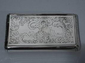 Dutch Silver Tobacco Box with Naïve Nautical Scene 1857