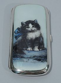 Cute Cat Collectible - Kitty Cigarette Case in Silver & Enamel