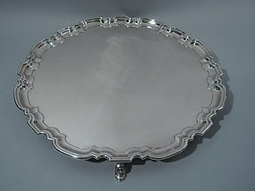 Very Large & Heavy English Sterling Silver Salver Tray