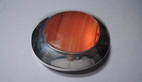 Antique English Sterling Silver and Agate Box 1876