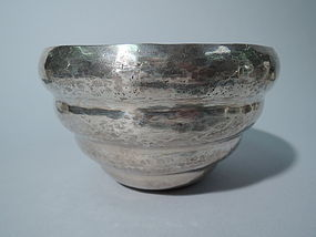 Antique South American Silver Beehive Bowl - Heavy & Hand Hammered