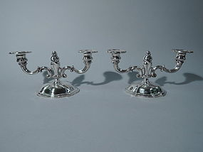 Pair of Art Nouveau 2-Light Candelabra - German Silver C 1920