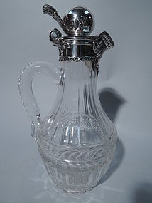 Antique Tiffany Sterling Silver and Cut Glass Decanter