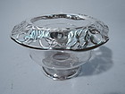 Antique Hand-Blown Glass Bowl with Silver Overlay