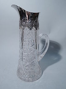Tiffany Sterling Silver and Brilliant-Cut Glass Claret Jug C 1890