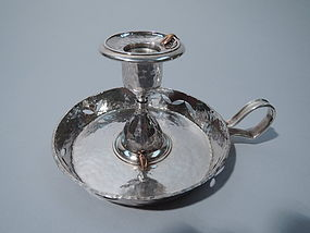 Tiffany Hand Hammered Sterling Silver & Mixed Metal Chamberstick