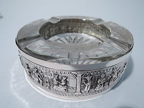 Rural Chic Ashtray - German Silver and Glass C 1910