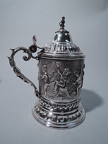 Large Italian Silver Covered Tankard with Bacchic Revelry Frieze