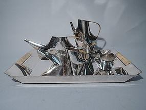 Christofle Como Sterling Silver Tea Service by Lino Sabattini