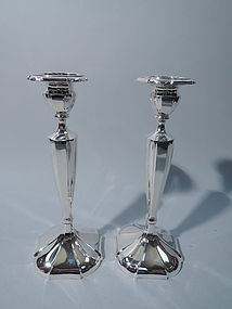 Pair of American Modern Sterling Silver Candlesticks by International