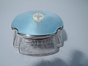 Pretty Sterling Silver, Glass, and Blue Enamel Powder Jar C 1920
