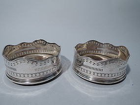 Pair of Antique Victorian Silver Plate Wine Coasters