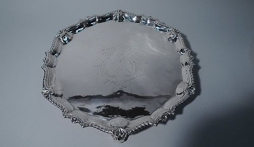Large and Heavy Georgian Sterling Silver Salver Tray 1757